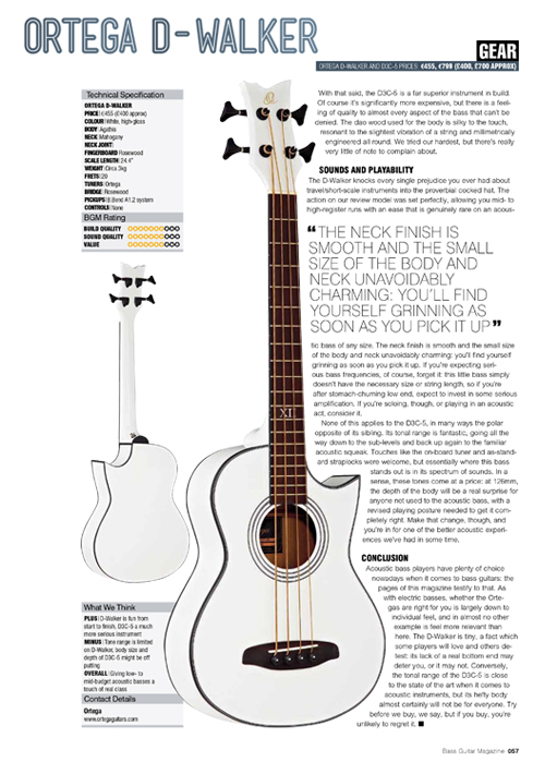 Ortega D Walker Electro Acoustic Bass White